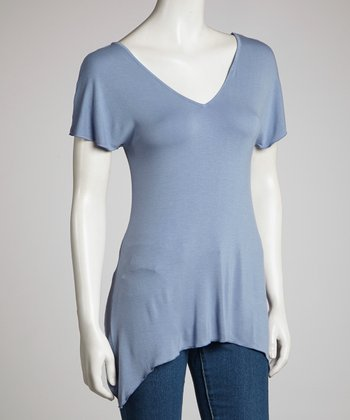 Blue V-Neck Sidetail Top - Women