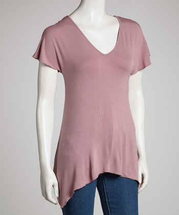 Mauve V-Neck Sidetail Top - Women