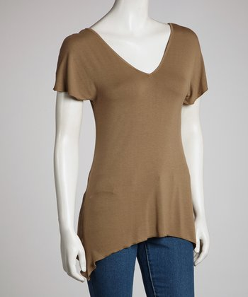 Olive Brown V-Neck Sidetail Top - Women