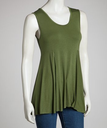 Dark Green Drape Sleeveless Top - Women