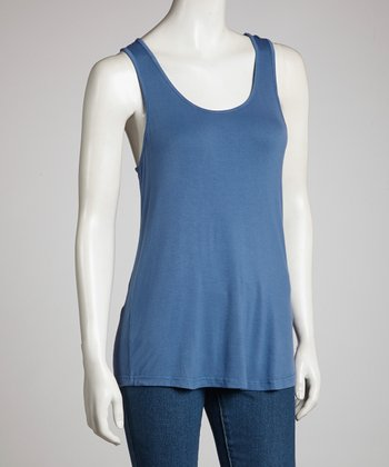 Dark Blue Racerback Tank - Women