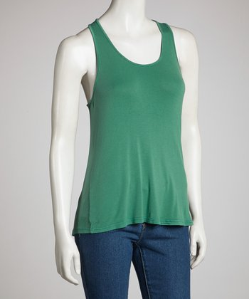 Dark Green Racerback Tank - Women