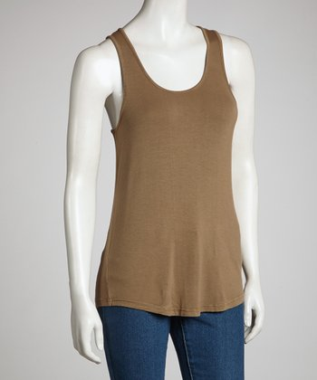 Olive Brown Racerback Tank - Women
