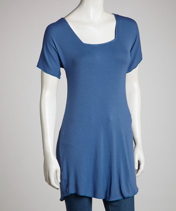 Dark Blue Angel Sleeve Top - Women