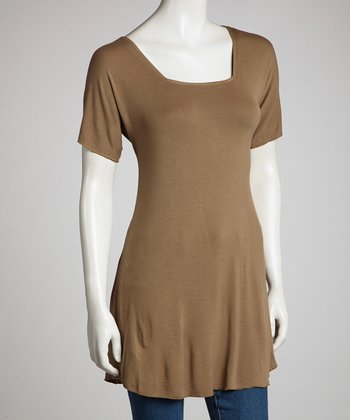 Olive Brown Angel Sleeve Top - Women