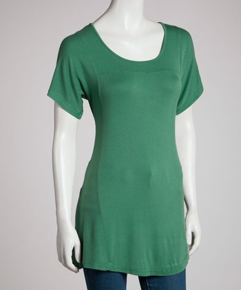 Dark Green Short-Sleeve Top - Women