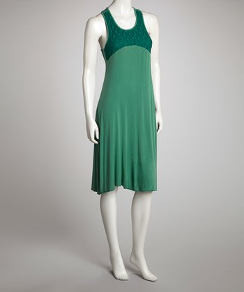 Green & Dark Green Racerback Shift Dress - Women