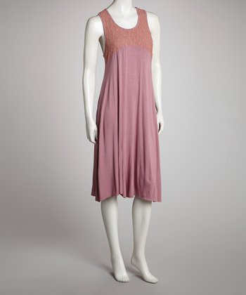 Mauve & Orange Racerback Shift Dress - Women