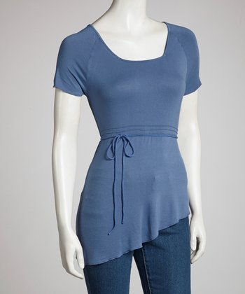 Dark Blue Asymmetrical Hem Short-Sleeve Top - Women