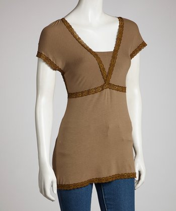Brown Empire Short-Sleeve Top - Women