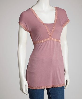 Mauve & Orange Empire Short-Sleeve Top - Women