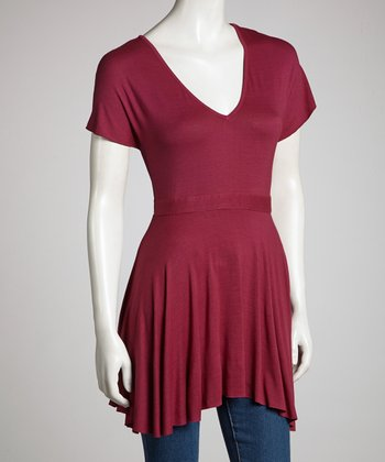 Burgundy Babydoll Top - Women