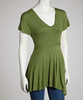 Green Babydoll Top - Women