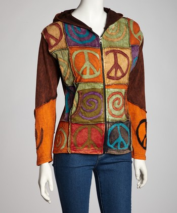Brown Peace Swirl Zip-Up Hoodie