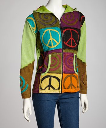 Green Peace Swirl Zip-Up Hoodie