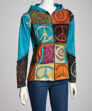 Turquoise Peace Swirl Zip-Up Hoodie - Women