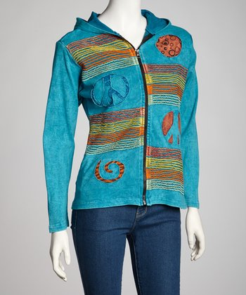 Turquoise Peace Stripe Zip-Up Hoodie