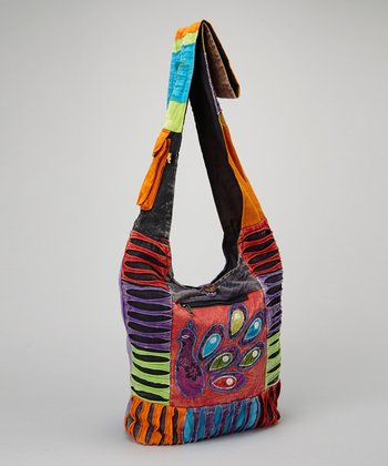 Peacock Cutout Patchwork Tote