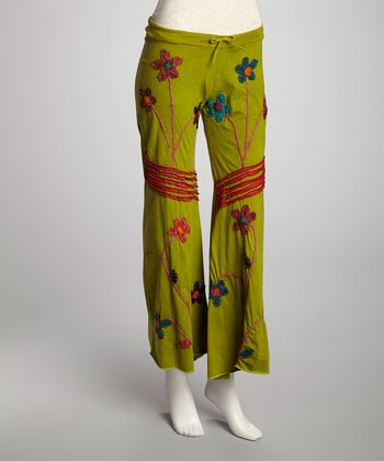 Green Flower Patch Lounge Pants - Women