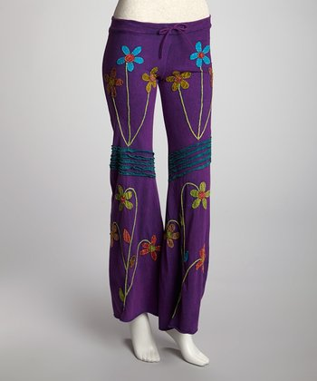 Purple Flower Patch Lounge Pants - Women