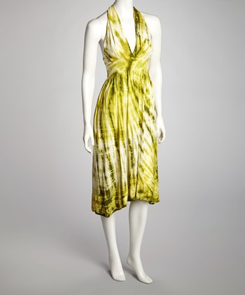 Green Tie-Dye Halter Dress - Women