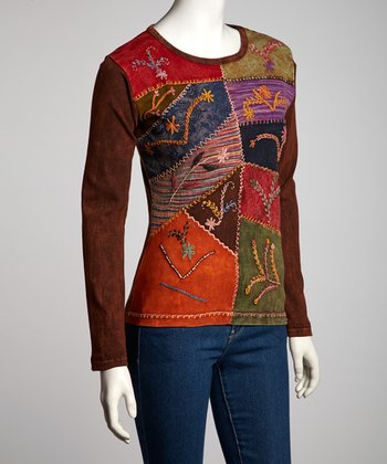 Brown Wheat Embroidery Long-Sleeve Top - Women