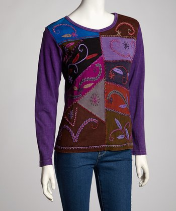 Purple Wheat Embroidery Long-Sleeve Top - Women
