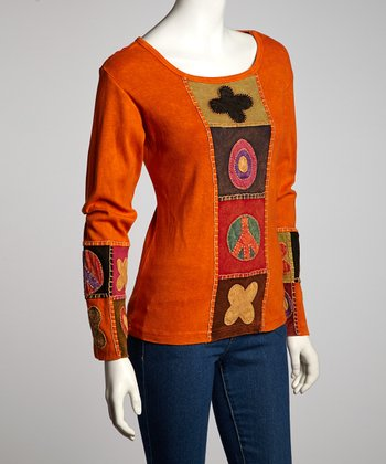 Orange Flower Peace Long-Sleeve Top - Women