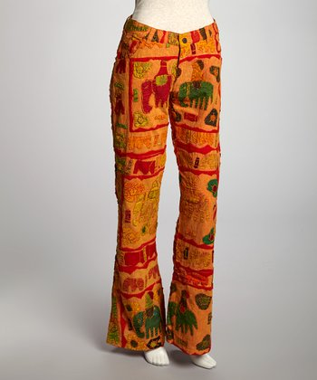 Orange Elephant Patchwork Lounge Pants - Women