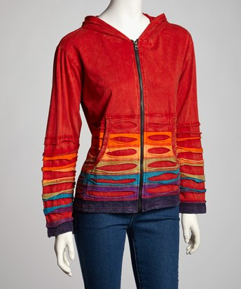 Red Rainbow Panel Zip-Up Hoodie - Women