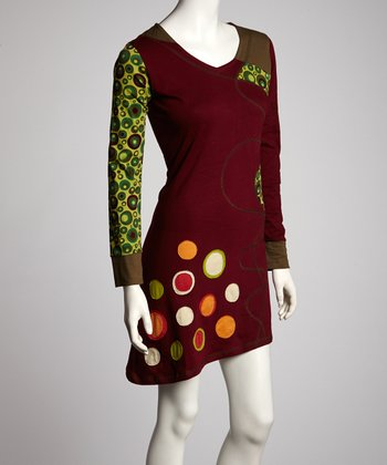 Maroon & Green Bubble Spot Long-Sleeve Dress - Women