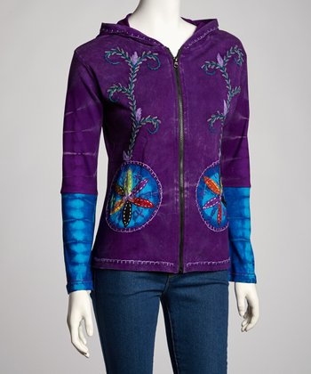 Purple Floral Vine Zip-Up Hoodie - Women