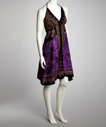 Black & Purple Arabesque A-Line Halter Dress - Women