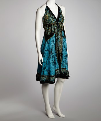 Blue & Black Arabesque A-Line Halter Dress - Women
