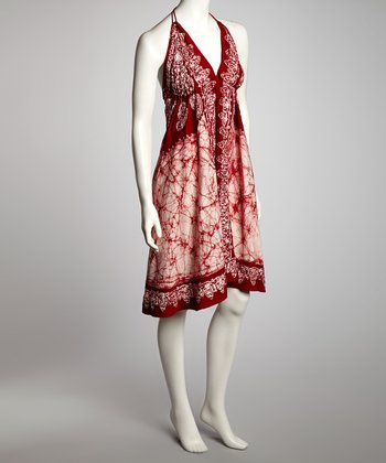 Red & White Arabesque A-Line Halter Dress - Women
