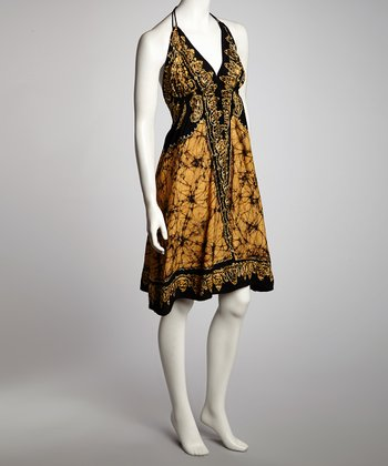 Yellow & Black Arabesque A-Line Halter Dress - Women
