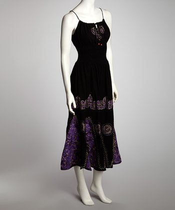 Black & Purple Arabesque Maxi Dress - Women