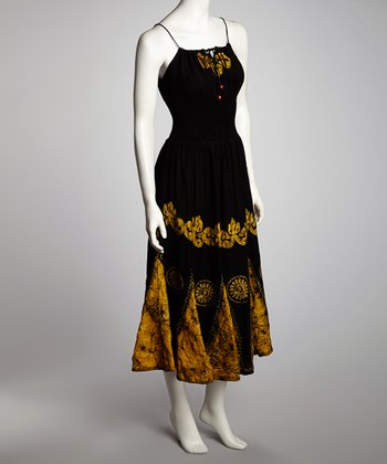 Black & Yellow Arabesque Maxi Dress - Women