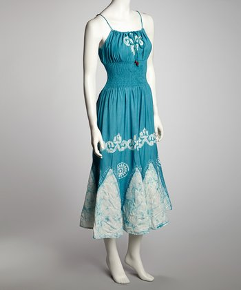White & Blue Arabesque Maxi Dress - Women