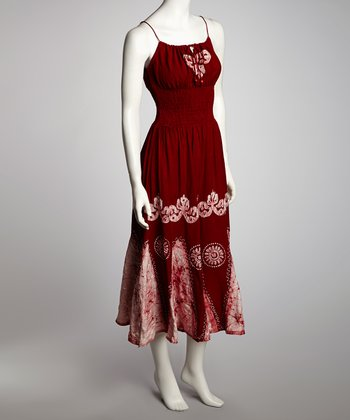 White & Red Arabesque Maxi Dress - Women