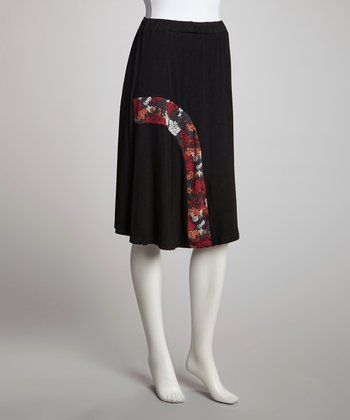 Black Lilacs Mid-Length Skirt