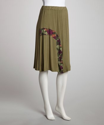 Green Lilacs Mid-Length Skirt