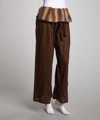 Brown Stripe Waist Lounge Pants
