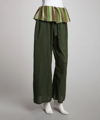 Green Stripe Waist Lounge Pants