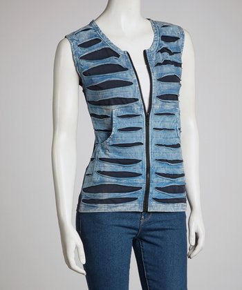 Blue Razor Cut Vest - Women