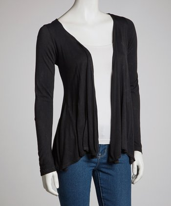 Black Shortened Open Cardigan - Women