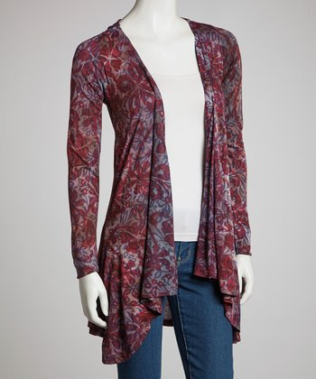 Purple Floral Overlay Open Cardigan - Women