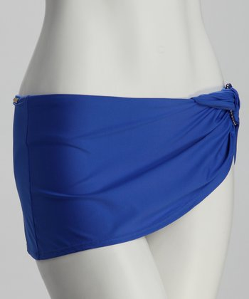 True Blue Twisted Ring Skirted Bikini Bottoms