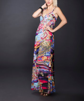 Pink & Aqua Abstract Paisley Maxi Dress
