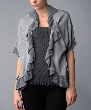 Silver & Charcoal Ruffle Wool-Blend Layered Top